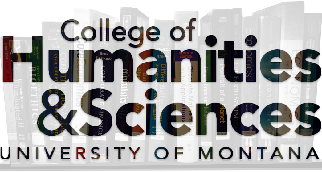 Image of books superimposed with the College of Humanities and Sciences logo